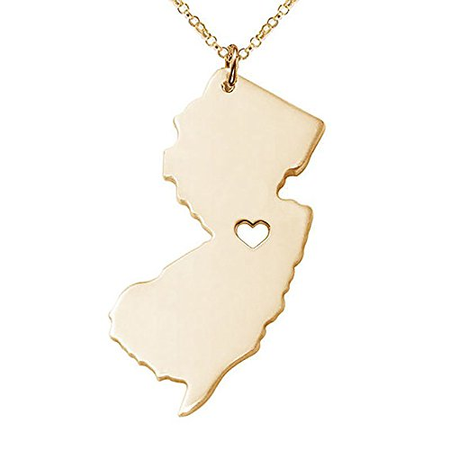 Meiligo 18K Gold Silver Country Map Charm Pendant New Jersey State Map Necklace Jewelry (Gold)