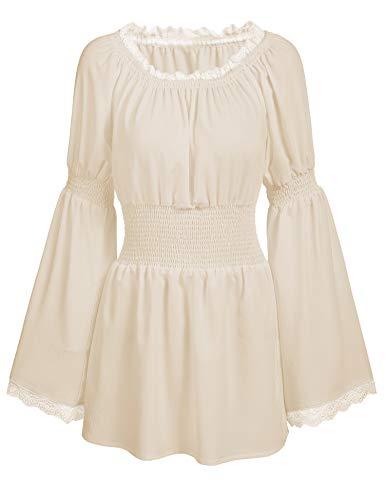 trudge Damen Schulterfrei Vintage Bluse Lange Ärmel Spitze Rüschen Smocked Taille Boho Tops Shirts Frühling Herbst Winter (XL, Aprikose)