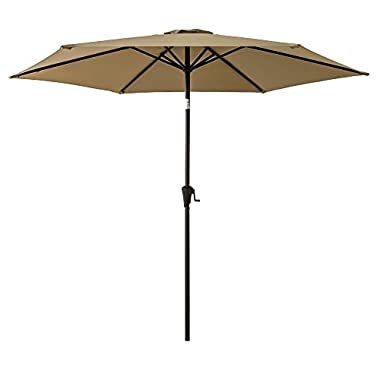 FLAME&SHADE 9ft Patio Outdoor Umbrella Market Parasol with Crank Lift, Push Button Tilt, Beige