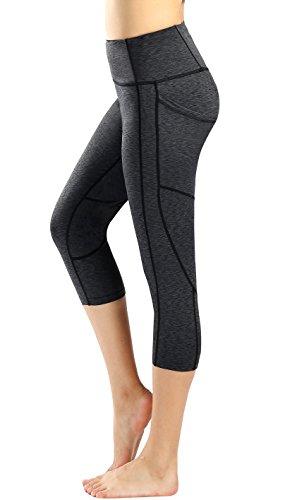 Sugar Pocket Damen Outdoor-Leggings, Capris, Fitness-Leggings, Laufen, Yoga Medium Tiefgrau/Seitentasche.