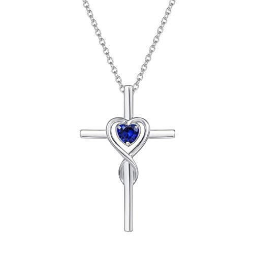 Collar con Colgante de Cruz Cristiana Infinito Corazón para Mujer de Plata de Ley 925 y Zafiro Azul Sintético Cadena Regalo Joyería para Mujer - Longitud Cadena: 40 + 5 cm