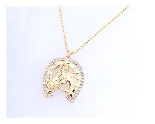 Herradura de Cristal y la Cabeza de Caballo Colgante Collar del Caballo Collares Collares (Color : 55cm, Size : Light Yellow Gold Color)