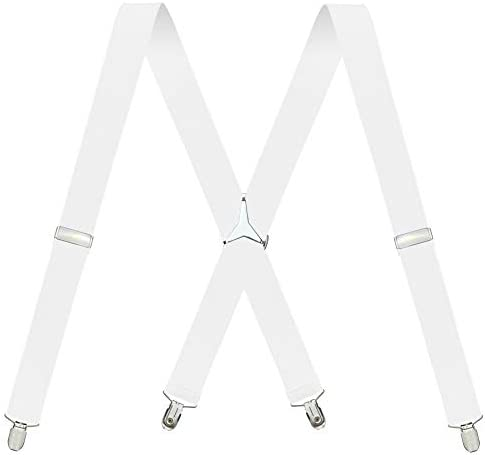 Men s X Back 1 4 Inches Wide 4 Clips Adjustable Suspenders White product image