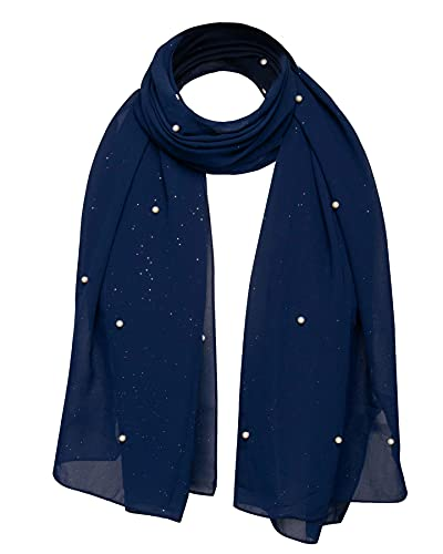Beautiful Bridal Pearl Embellished With Gentle Shiny Glitter Bridesmaids Prom Wedding Wrap Shawl, Evening Party Scarf, Navy Scarf