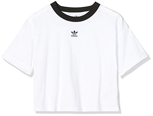 adidas Womens Crop Top Shirt, White/Black, 46