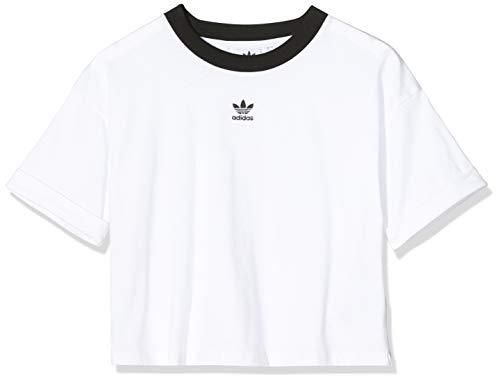 adidas Crop Top, Canottiera Sportiva Donna, White/Black, 42