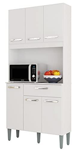 SZ Suarez Mueble Cocina Lusaka Color Blanco alacena 6 Puertas 1 cajón Estilo Moderno almacenaje 172x80x31 cm