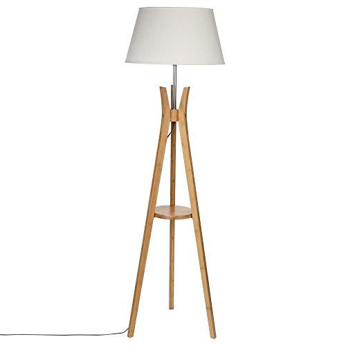 Lampadaire trépied avec tablette - Esprit industriel - Pied en bois et abat-jour BLANC CASSE