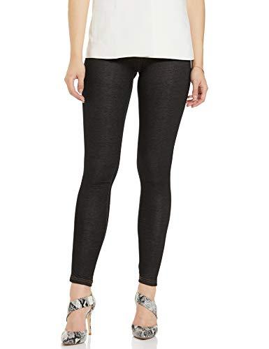 GO COLORS Women's Cotton legging Bottom (LL-BLCK JEG87-S_Black Jegging_Small)