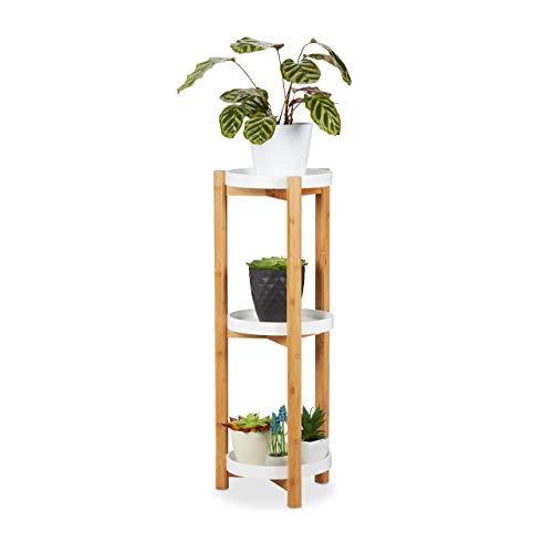 Relaxdays Blumenregal, 3 Etagen, Bambus & MDF, rund, moderner Pflanzenständer für innen, HxD: 79 x 30 cm, Natur/weiß