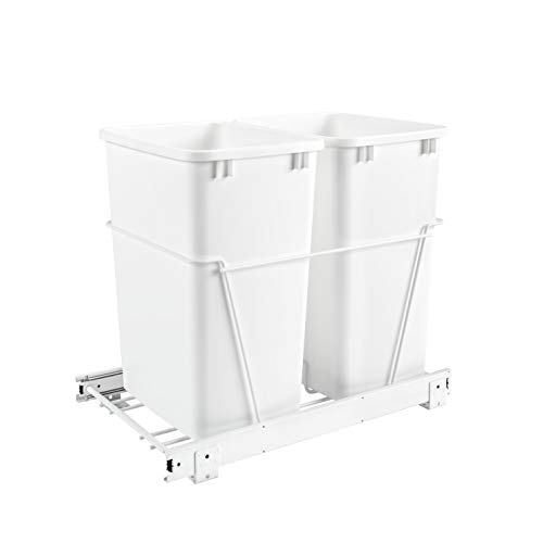 Rev-A-Shelf RV-18PB-2 S Double 35-Quart Sliding Pull Out Kitchen Cabinet Waste Bin Container, White