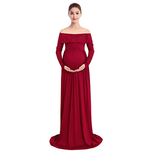 BRIEF Wedding Baby Shower Dress Pregnancy Dress Elegant Lace Maxi Long Maternity Dresses for Photo Shoot Pregnant Dress Photography,Wine red B,S
