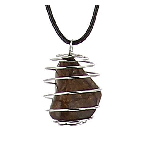 Axstore Market–Collar Piedra Natural de broncita con Colgante Jaula de Amor y Collar cordón de Cuero Negro para Mujer y Hombre–Cristaloterapia