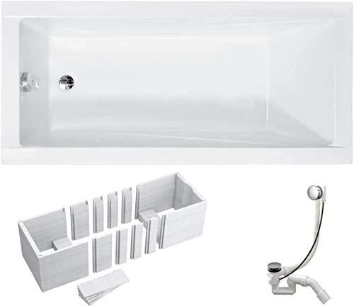 VBChome Badewanne 140x70 cm Acryl SET Wannenträger Siphon Wanne Rechteck Weiß Design Modern Styroporträger Ablaufgarnitur in Chrom Viega Simplex (140x70 cm)