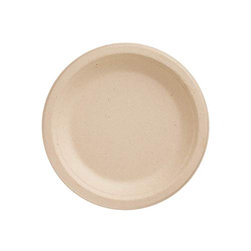 HARVEST PACK 9 inch Round Disposable Compostable Paper Plates - Made From Eco-Friendly Plant Fibers [100 COUNT]