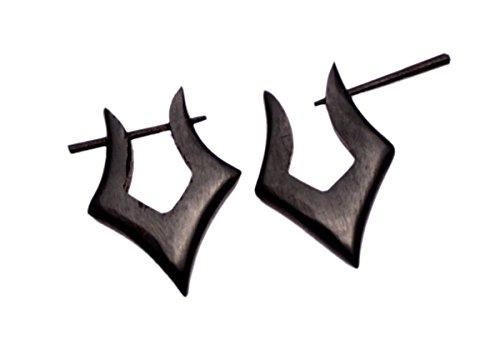 Un par de pendientes de madera natural negro Coco moda ébano Gypsy Stick AUSEW370
