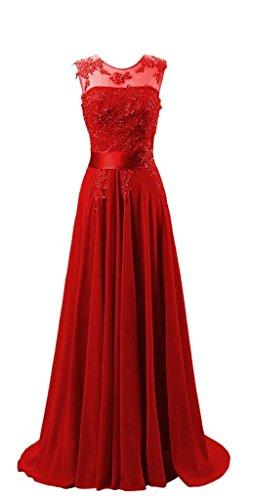 Kmformals Damen Chiffon Langes Party Ballkleid Abendkleid 38 Rot