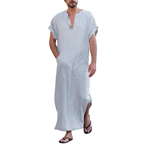 Ashui Herren Ethnisch Robe Lose Baumwolle Leinen Bluse Hemd Tops Einfarbig Kurzarm Dünn Jahrgang Kleid Kaftan V-Ausschnitt Nachtwäsche Mit Taschen Maxikleid Muslim Indien Türkisch Kleider