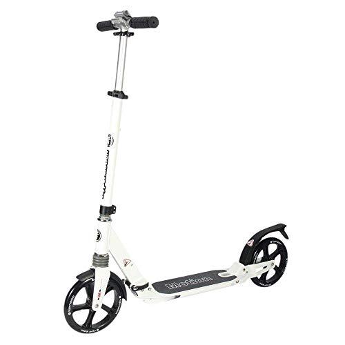 HyperMotion, Kinderroller, ABEC-9 Lager, Roller für Kinder, faltbar, Stoßdämpfer, Scooter für Erwachsene, Mädchen und Jungen, Kickboard, Tretroller, Weiß