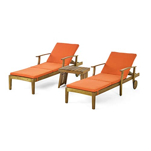 Christopher Knight Home 312751 Christian Outdoor Acacia Wood 3 Piece Chaise Lounge Set, Teak Finish, Orange