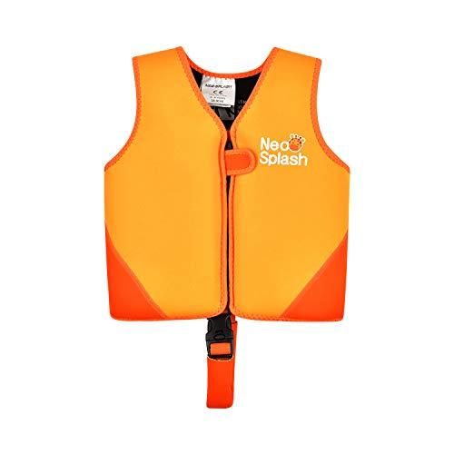 NEO-SPLASH Kinder Mädchen Junge Schwimmlernweste, Schwimmhilfe Schwimmen Jacket für Kleinkinder mit Einstellbare Sicherheits Straps Alter 1-6 (KS Orange, 1-3)