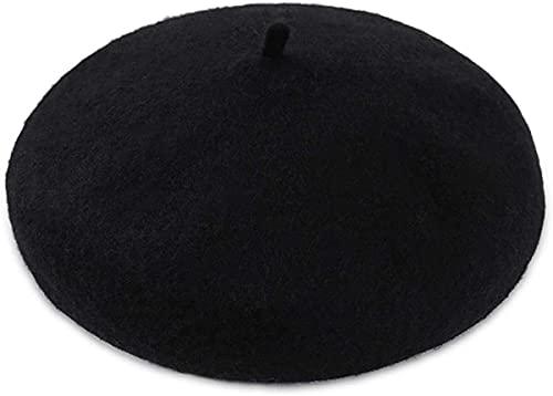 Seupeak Beret Cap Womens Newsboy Cabbie Painter Baker Cap Plain Womed Wool 56-58cm Ajustable (Color : Black)
