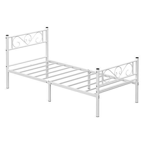 VASAGLE Einzelbettgestell, Bettrahmen, Bettgestell aus Metall, passend für 90 x 190 cm Matratze, Gästebett, für Erwachsene, Kinder, einfache Montage, für kleine Räume, weiß RMB061W01