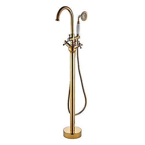 Sistemas de ducha para bañera Ducha de mano Grifo de bañera independiente montado en el piso dorado con ducha de manofácil instalación (Tipo de grifo de baño y ducha: Grifo de pie para oro) Baño F