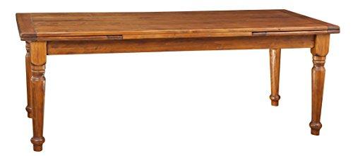 Biscottini Table Extensible en Bois Massif de Tilleul – Style Rustique – Structure et Plateau en Noyer L 220 x P 100 x H 80 cm