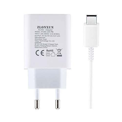ZLONXUN 18W Ladegerät Mit USB-C Kabel,Schnellladegerät Netzteil für Huawei P9 P10 Plus P20 P30 pro P40 Mate 9/10/20 Nova 5T Honor 9X/8/G9 Schnellladung Ladegerät 18w