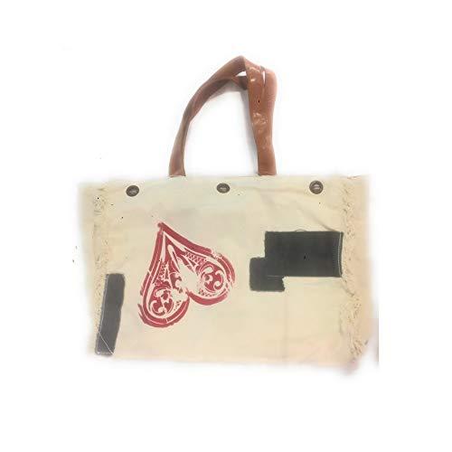 Terre Rouge Handtasche aus grauem Segeltuch, mit Herzmotiv und grauen Stoffteilen