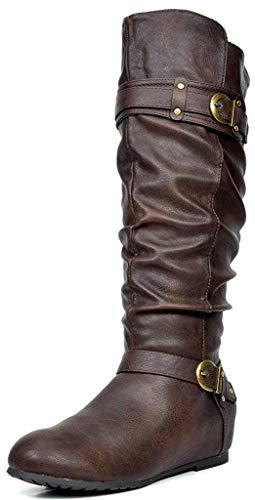 DREAM PAIRS Women's Joies Brown Knee High Low Hidden Wedge Boots Size 8.5 M US