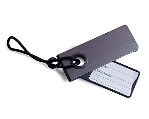 Lexon NEO LUGGAGE TAG - Etiqueta para equipaje de aluminio, color gris antracita