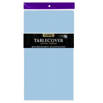 Light Blue / Baby Blue Plastic Table Cover (54' x 108'), 1-Pack