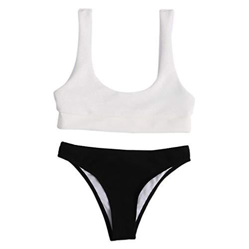 KunmniZ Mujeres Sexy 2pc Bikini Set Sólido Color Push Up Push Up Swimsuit Acolchado Traje de baño Notable Traje de baño ecológico para Vacaciones de Vacaciones Playa de