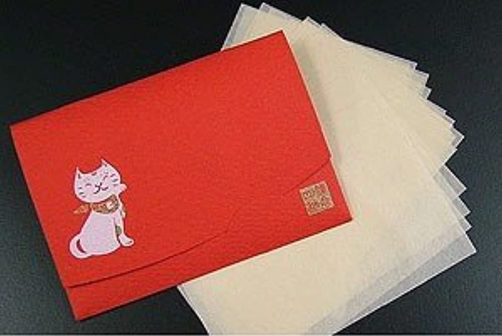 眉をひそめる配送リットル鎌倉四葩のあぶらとり紙 招き猫?赤 「絹すき」 短冊サイズ 20枚入