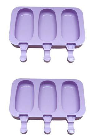 momoland Packung mit 2 Silikoneisformen, Eiscreme, EIS am Stiel, DIY EIS am Stiel (Oval)