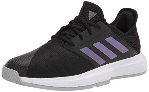 adidas Women's Gamecourt Tennis Shoe, Black/Black/Grey, 10.5