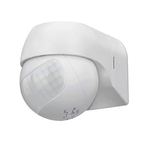 conecto Infrarot Bewegungsmelder innen+außen Aufputz Wand LED 180° schwenkbar neigbar IP44 Dämmerungssensor (1 Stück), weiß