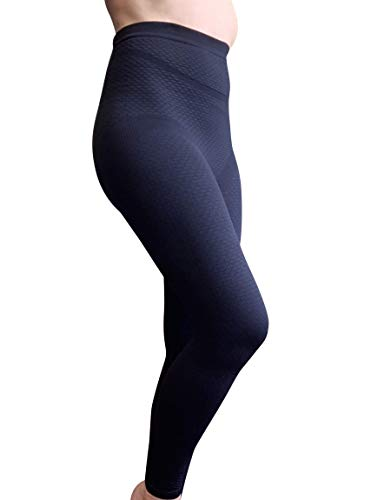BIOFLECT® Compression Leggings with Far Infrared Therapy and Micro-Massage Knit - for Slimming Support and Comfort - Lipedema, Lymphedema, Inflammation - Black XL