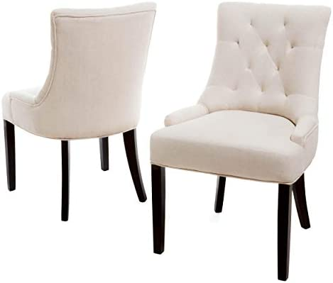 Best Christopher Knight Home Hayden Tufted Fabric Dining / Accent Chairs, 2-Pcs Set, Beige