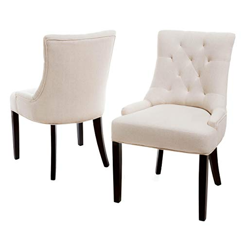 Christopher Knight Home Hayden Tufted Fabric Dining / Accent Chairs, 2-Pcs Set, Beige