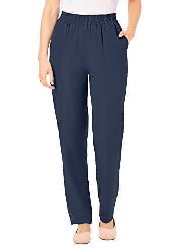 Woman Within Women's Plus Size Petite The No Hassle Elastic-Waist Pant - 20 WP, Navy Blue