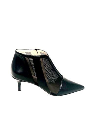 WO MILANO T763 - Tronchetto Donna Pelle e Tessuto retinato Tacco 6 cm (38 - Rete Nylon Nero+Nappa Nera)
