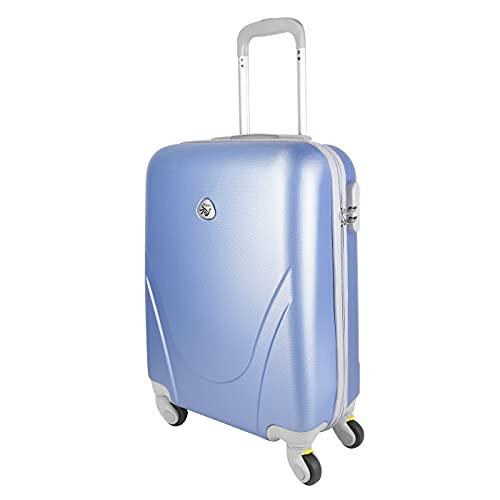 MERCURY TEXTIL - Maleta pequeña para Cabina rígida 4 Ruedas 360º Gira Equipaje de Mano (Azul Claro)