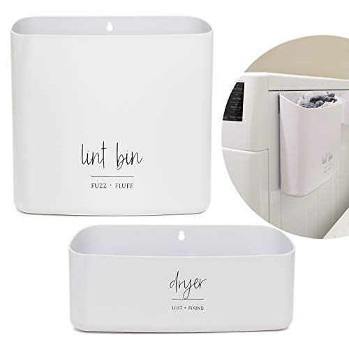 Magnetic Lint Bin for Laundry Room Organization and Storage 2 Piece Set | Waste Holder and Storage Decor | Saves Space with Magnet Mount onto Dryer or Wall Mount Options