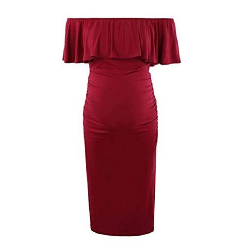 Vectry Ropa para Embarazadas Vestidos de Premamá para Bodas Vestido Cruzado Midi Vestidos Cortos Verano 2019 Vestidos Casuales para Mujer Vestido Rojo