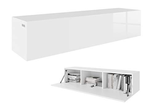PLATAN ROOM TV Lowboard 140 cm Hängeboard Hochglanz Board Schrank Wohnwand weiß (Weiß matt/Weiß Hochglanz)
