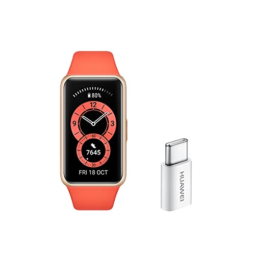 Huawei Band 6 - Pulsera de actividad con monitorización de Oxígeno en sangre (SpO2) 24horas y Adaptador USB-C, Pantalla FullView de 1.47 pulgadas, Batería para dos semanas, Naranja