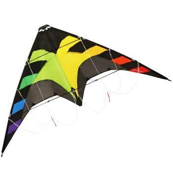 CIM Cerf-Volant acrobatique - Spider Rainbow - pour Enfants à partir de 6 Ans - Dimensions : 145x78cm - INCL. Ligne sur poignée avec Sangles